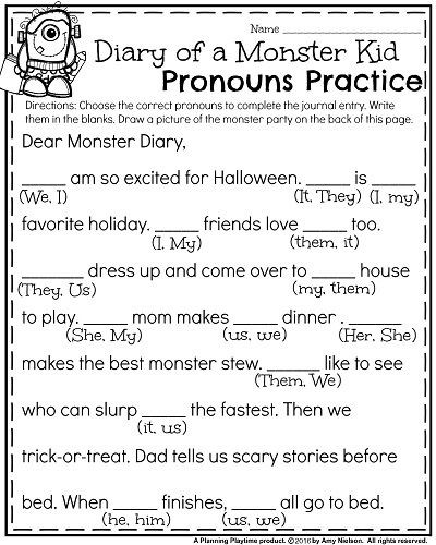 First Grade Pronoun Worksheets October First Grade Worksheets