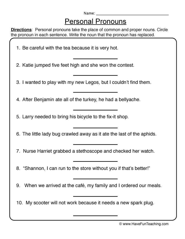 First Grade Pronoun Worksheets Personal Pronouns Worksheet