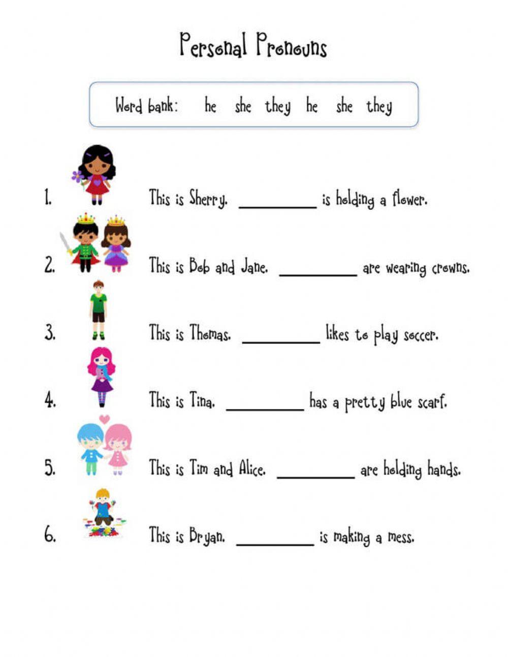 First Grade Pronoun Worksheets Pronouns Interactive Worksheet
