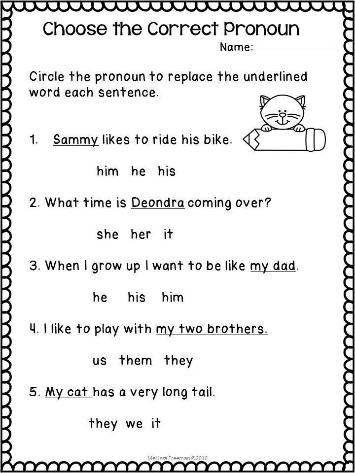 First Grade Pronoun Worksheets Pronouns Worksheets