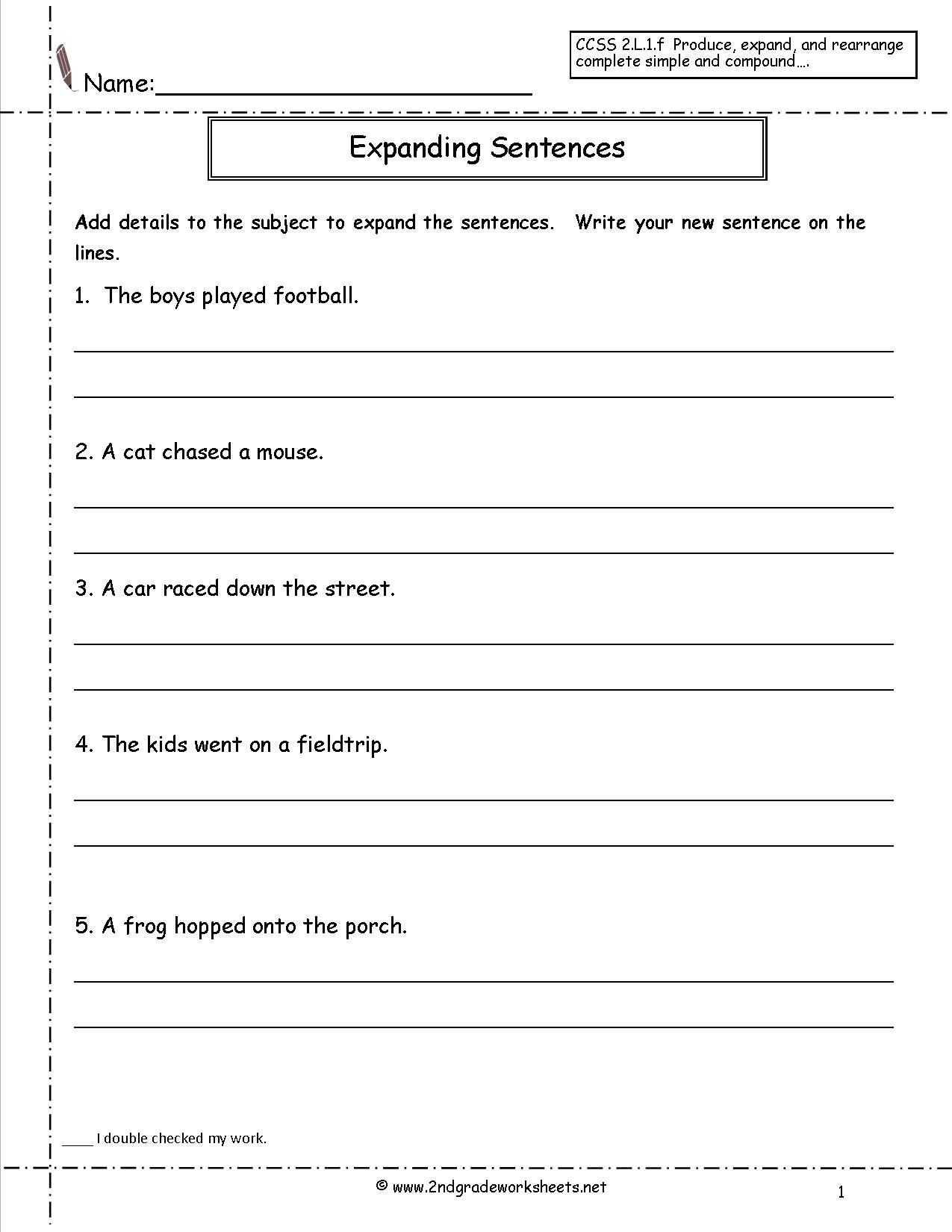 First Grade Sentence Worksheets Joining Words Worksheet for Grade 2
