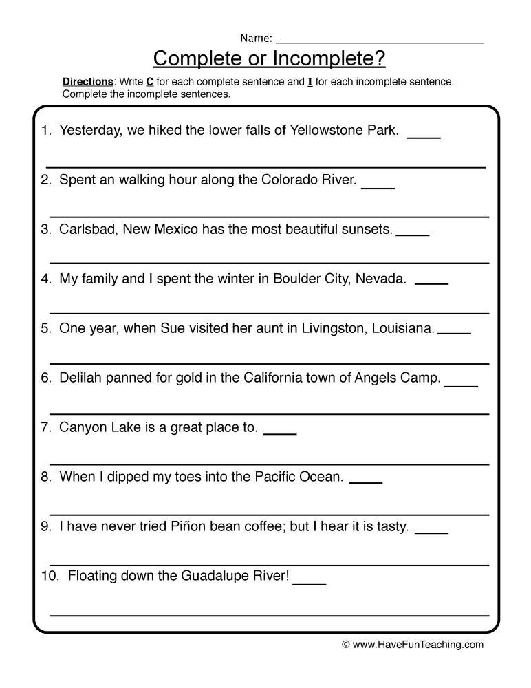 First Grade Sentence Worksheets Rewriting In Plete Sentences Worksheet
