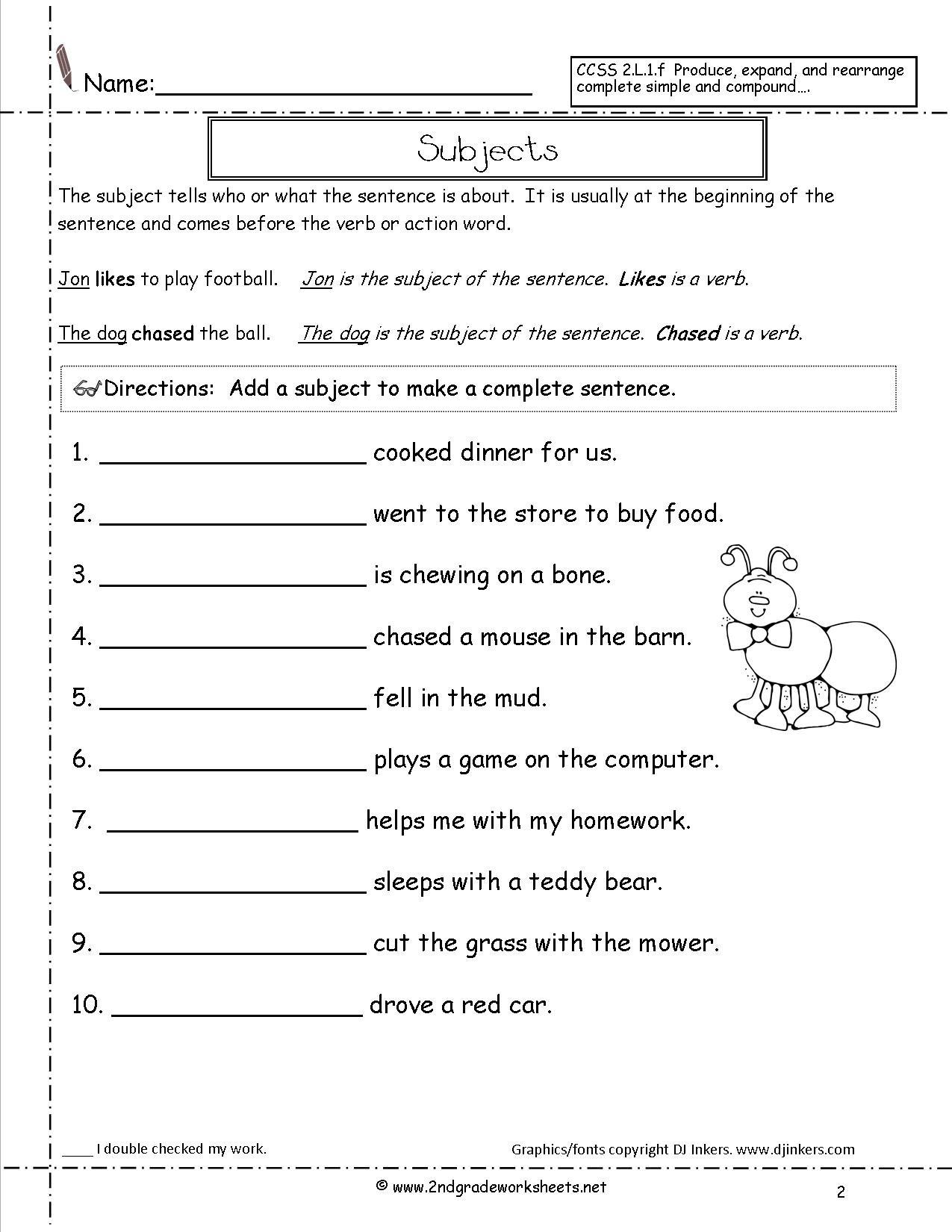 First Grade Sentence Worksheets Second Grade Sentences Worksheets Ccss 2 L 1 F Worksheets