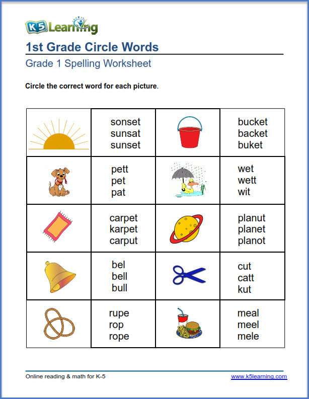 First Grade Spelling Words Worksheets First Grade Spelling Worksheets