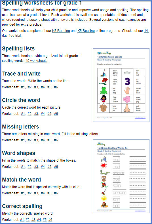 First Grade Spelling Words Worksheets Spelling Worksheets for Grades 1 to 5