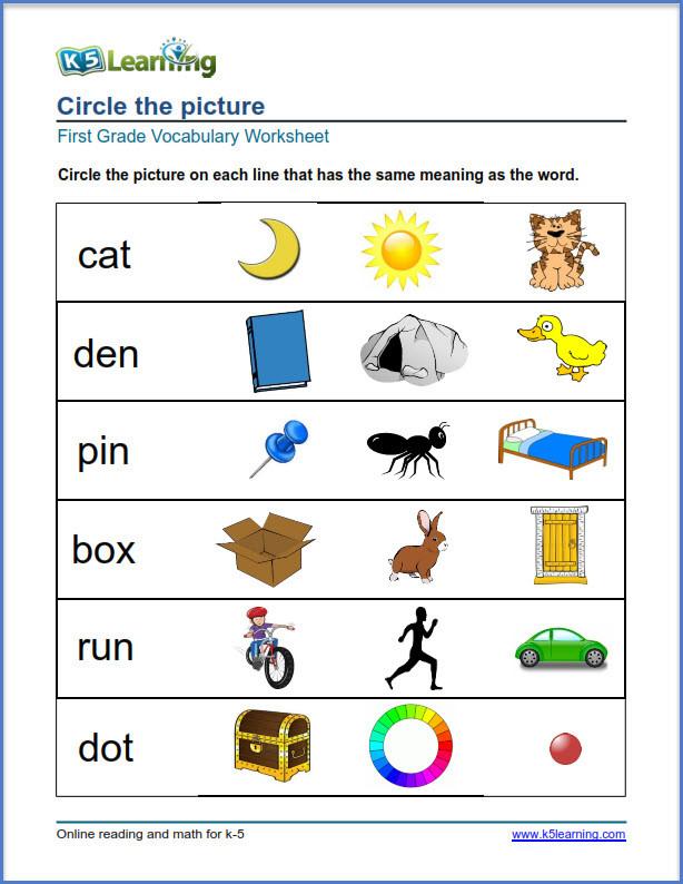 grade 1 vocabulary worksheet
