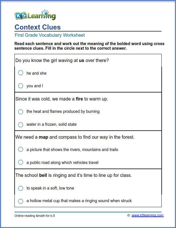 First Grade Vocabulary Worksheets Grade 1 Context Clues Worksheet
