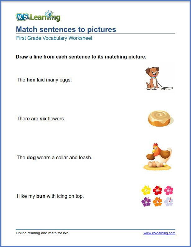 First Grade Vocabulary Worksheets Grade 1 Math Pictures to Sentences