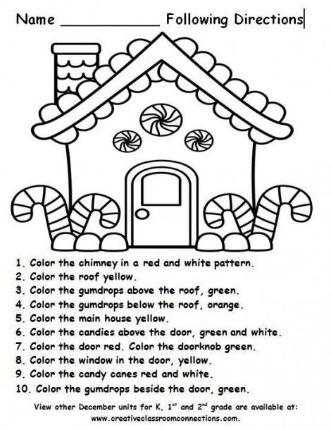 Follow Directions Worksheet Kindergarten Christmas Preschool Worksheets Follow the Direction