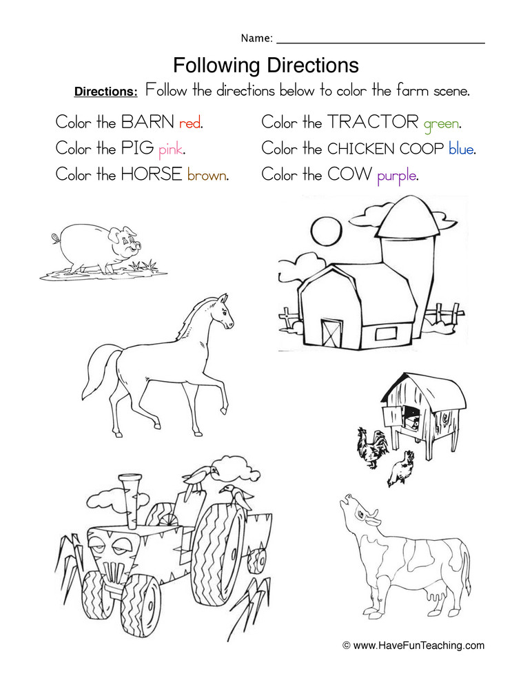 Follow Directions Worksheet Kindergarten Following Directions Coloring Worksheet