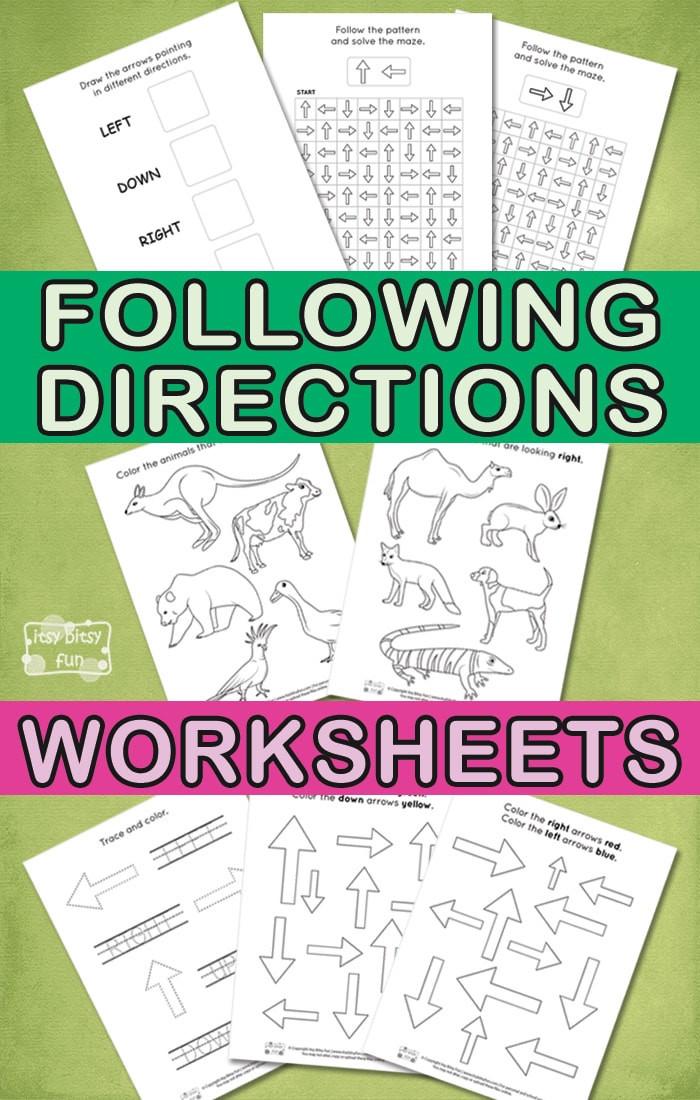 Follow Directions Worksheet Kindergarten Following Directions Worksheets for Kids Itsy Bitsy Fun