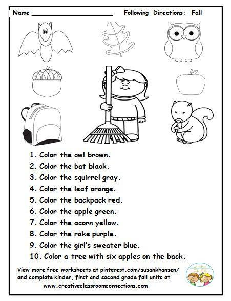 Follow Directions Worksheet Kindergarten Halloween Following Directions Worksheet