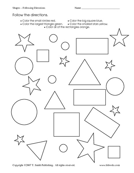 Follow Directions Worksheet Kindergarten Shapes Following Directions Worksheet for Kindergarten