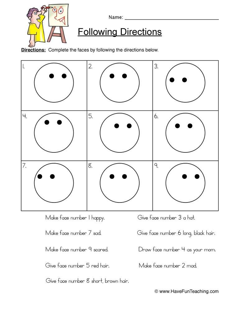 Follow Directions Worksheet Kindergarten Smilies Follow Directions Worksheet