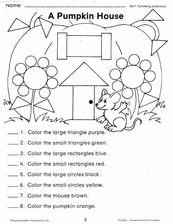 Following Directions Coloring Worksheet A Pumpkin House Shape Worksheet