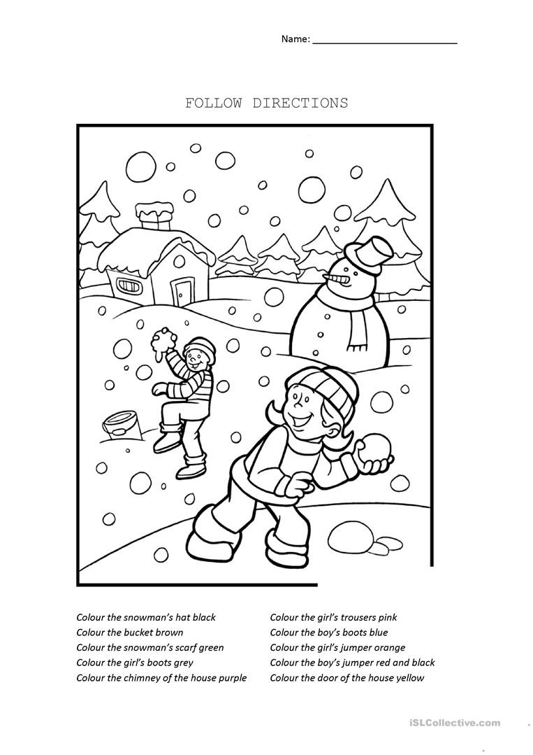 Following Directions Coloring Worksheet Follow Directions English Esl Worksheets for Distance