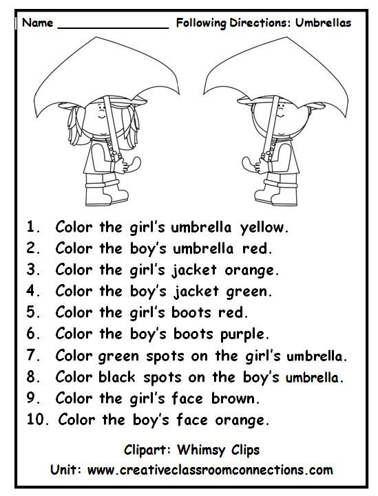 Following Directions Coloring Worksheet Following Directions with Color Words is A Fun Practice