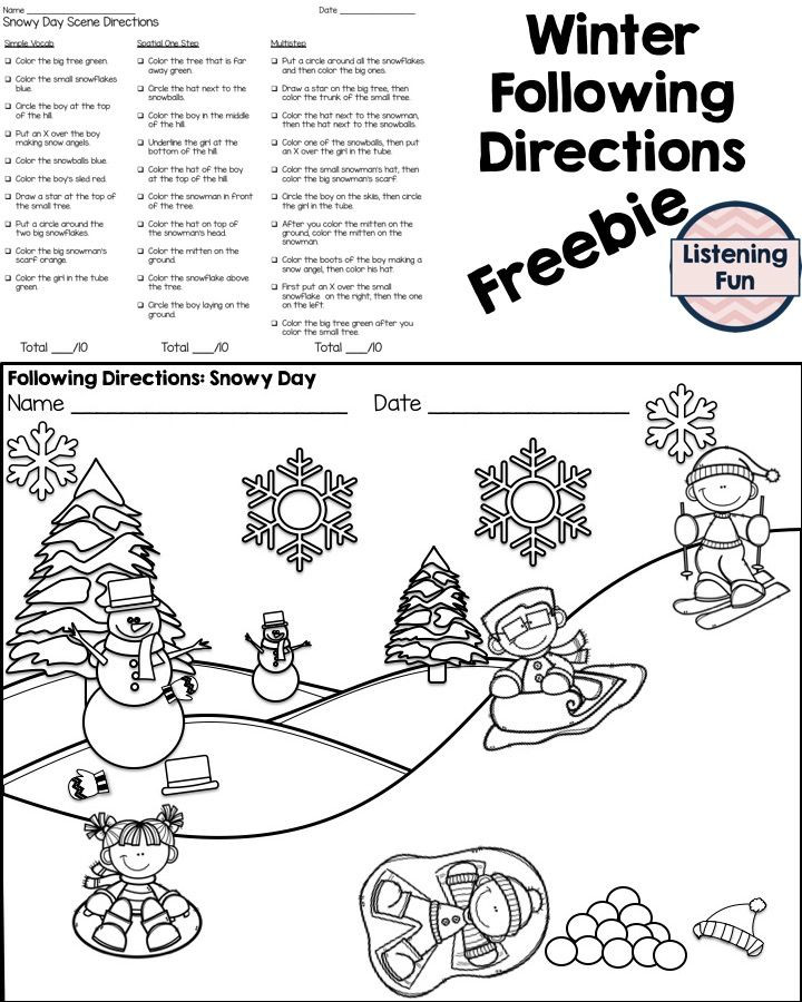 Following Directions Coloring Worksheet Winter Following Directions Coloring Printable