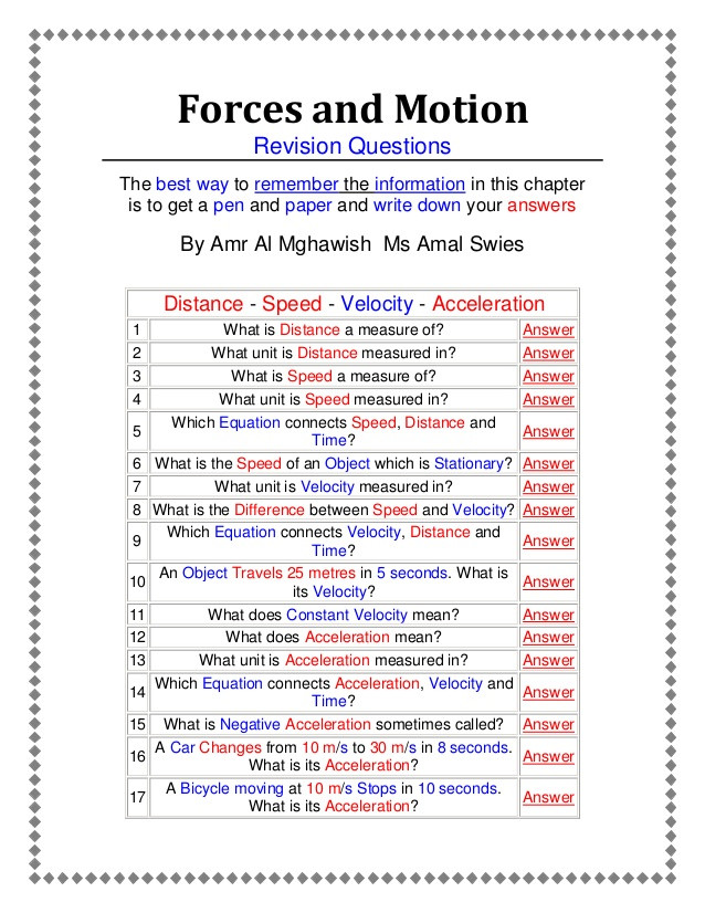 Force and Motion Printable Worksheets 34 Physical Science Motion and forces Worksheet Answers
