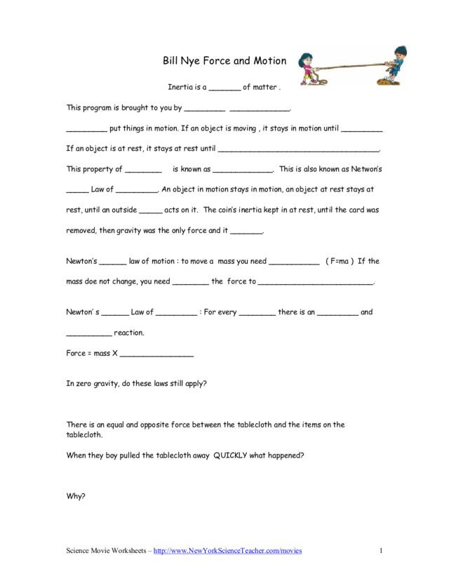 Force and Motion Printable Worksheets Bill Nye force and Motion Worksheet for 5th 9th Grade