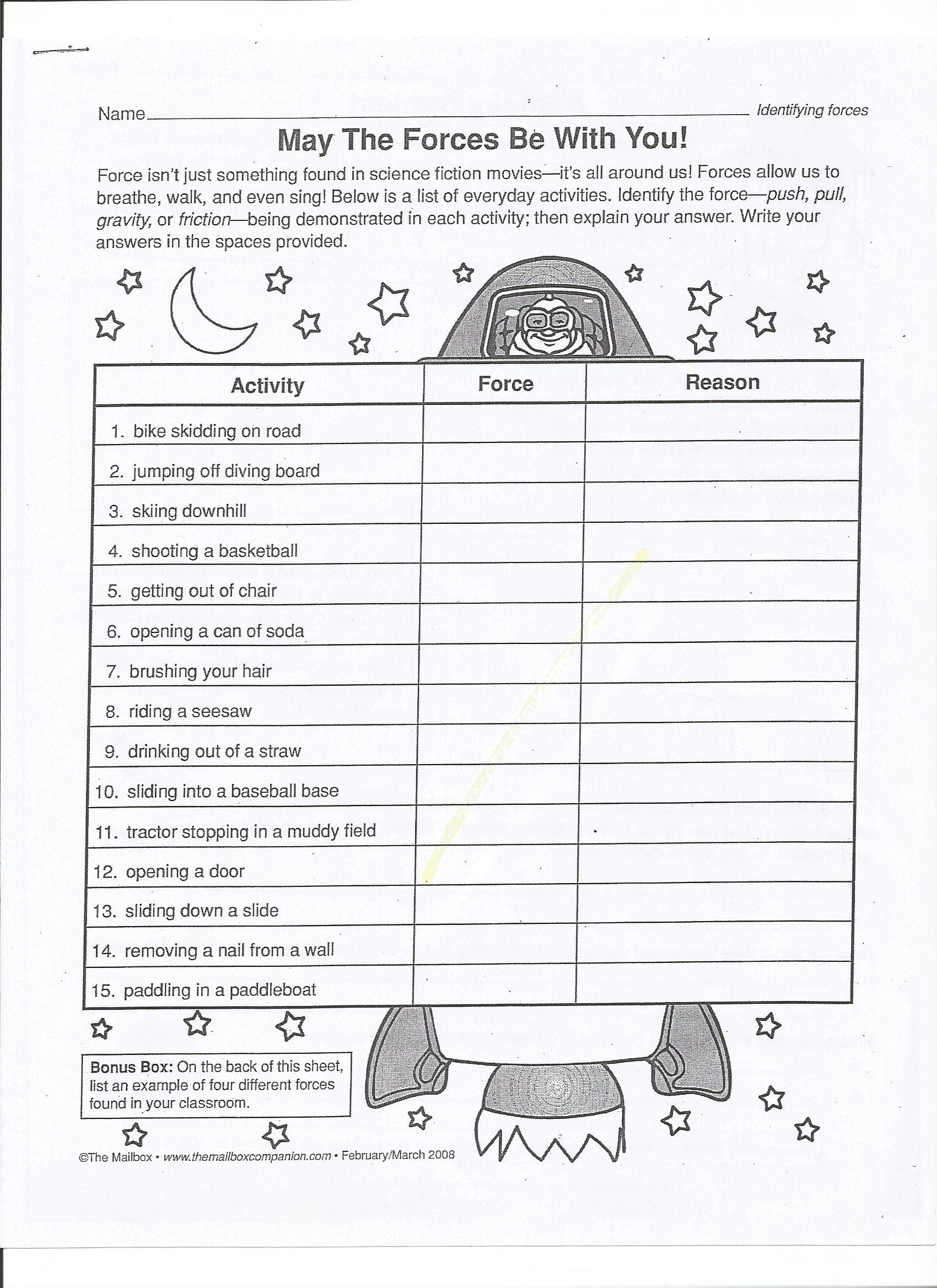 Force and Motion Printable Worksheets force and Motion Mrs Wells Class