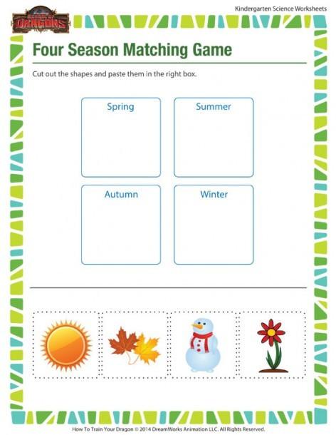 Four Seasons Kindergarten Worksheets Four Seasons for Kindergarten Printables