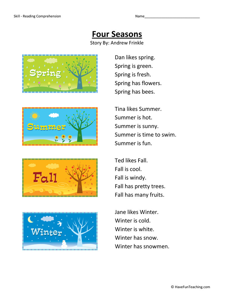 Four Seasons Kindergarten Worksheets Four Seasons Reading Prehension Worksheet