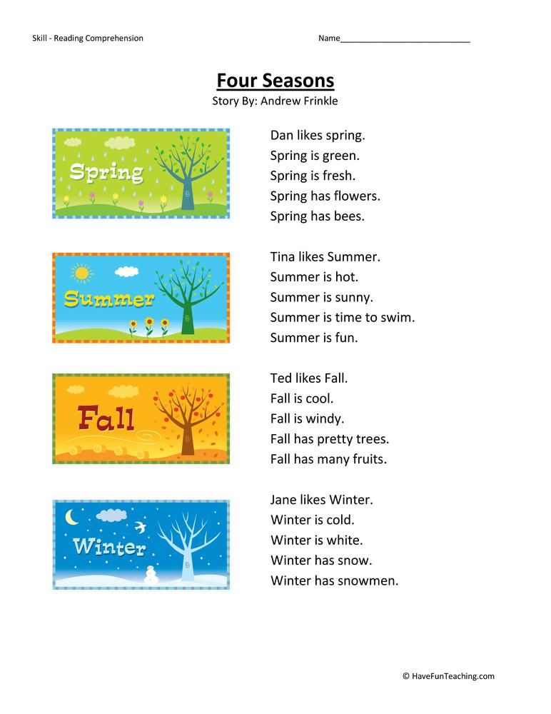 Four Seasons Kindergarten Worksheets Four Seasons Reading Prehension Worksheet