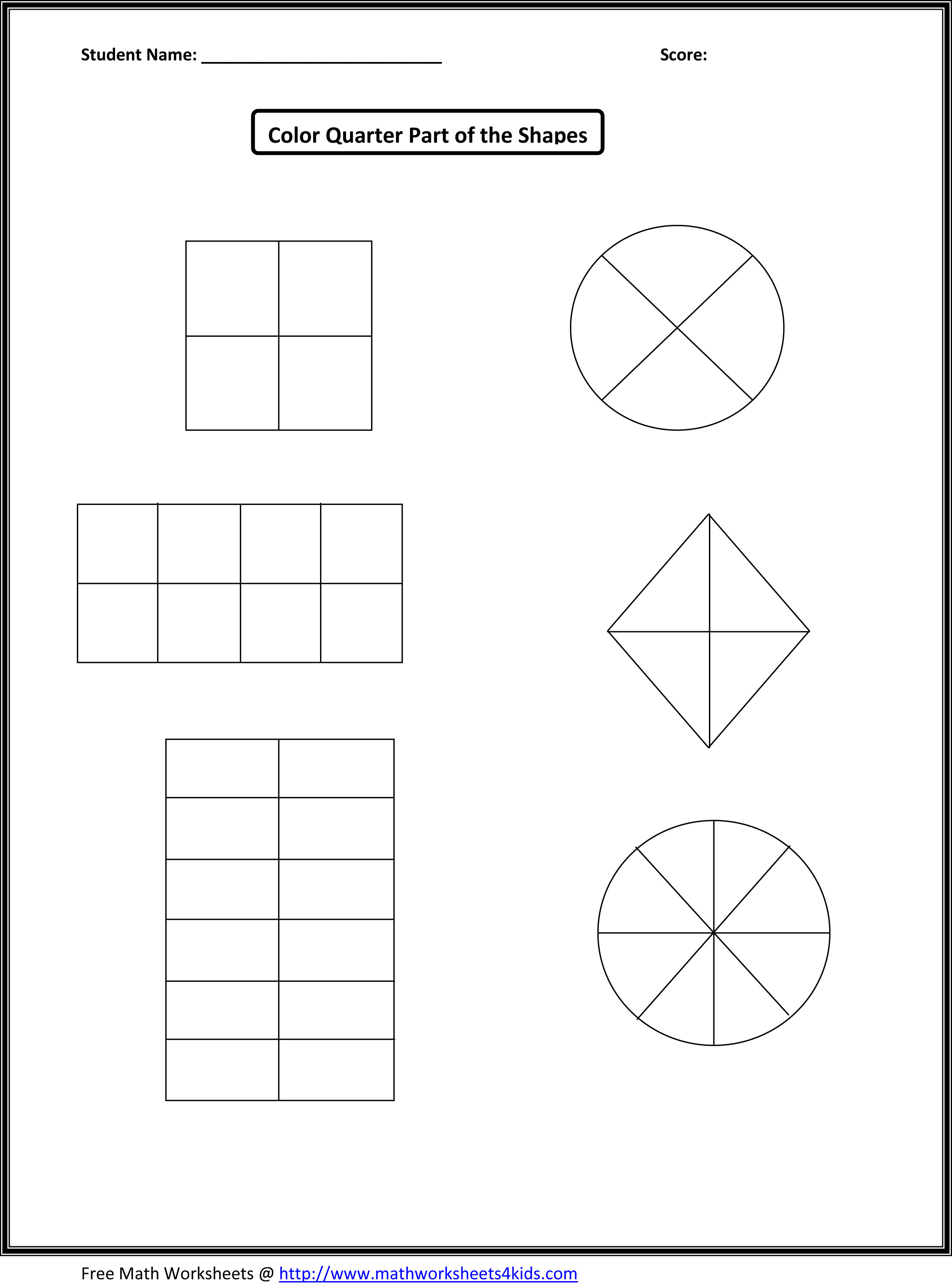 Fractions Worksheets First Grade A1 Wk 7 8 Halves and Quarters Shapes Numbers Lessons Tes