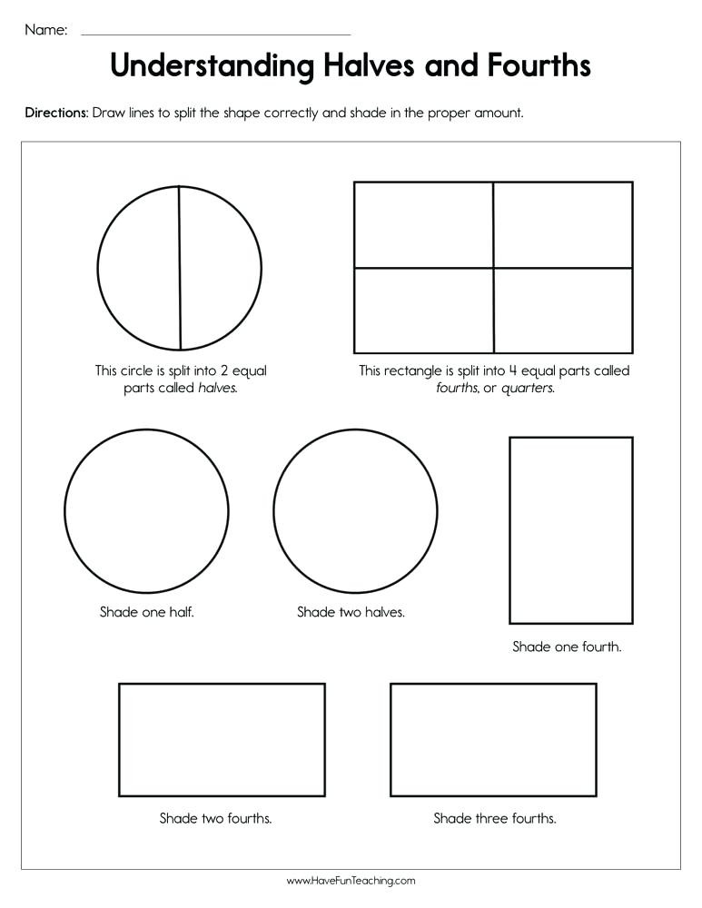 Fractions Worksheets First Grade Halves and Fourths Worksheets – Leter
