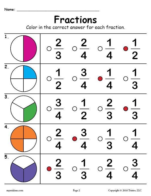 Fractions Worksheets First Grade Printable Fractions Worksheet