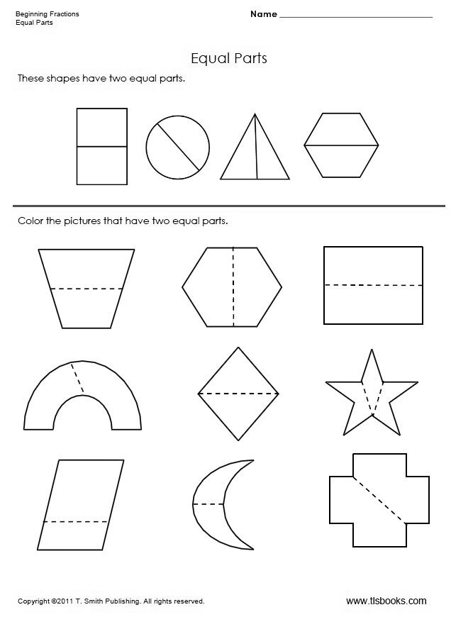 Fractions Worksheets First Grade Two Equal Parts A Beginning Fraction Worksheet