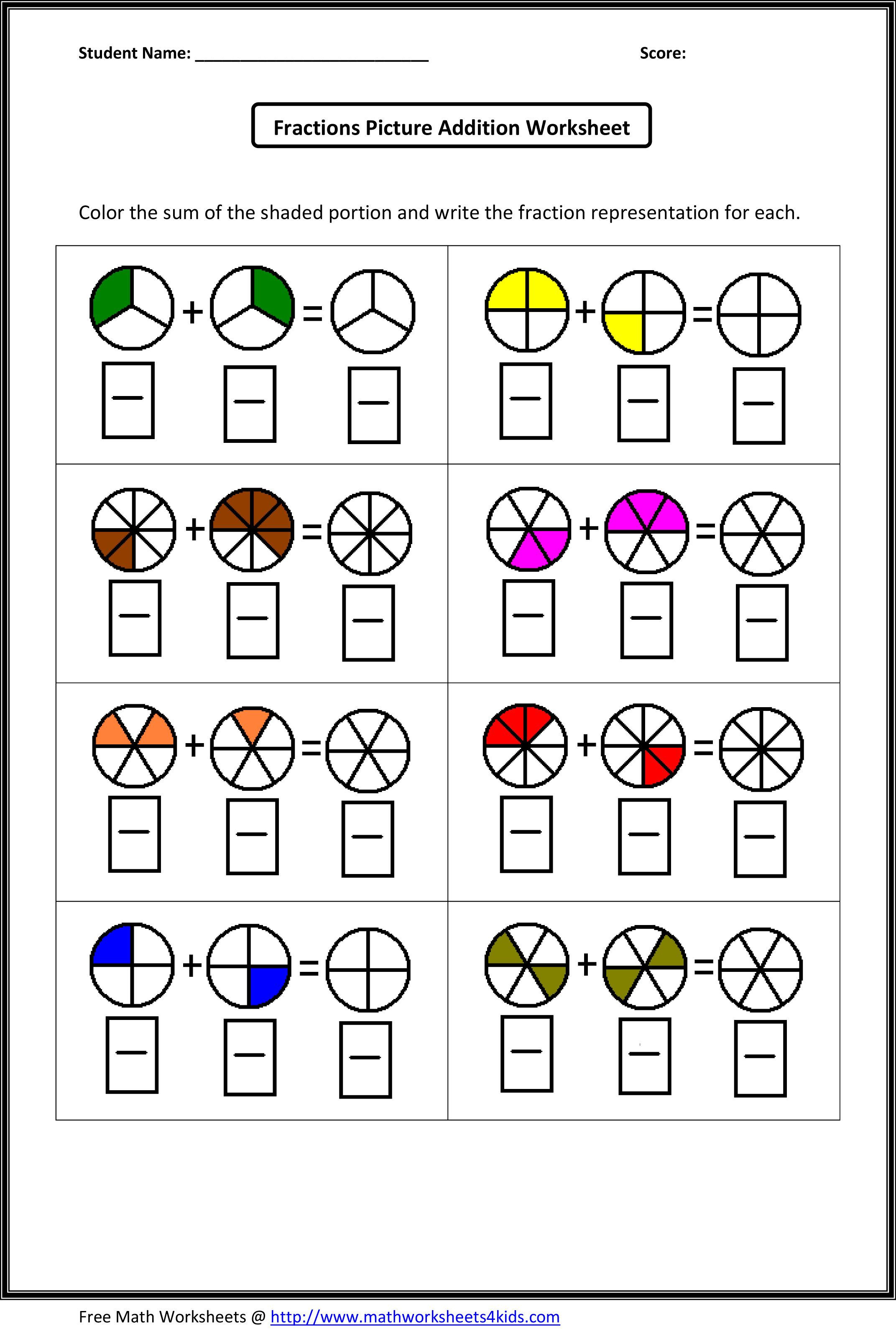 Fractions Worksheets Grade 4 Fraction Addition Worksheets