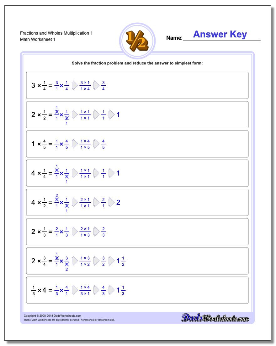 Fractions Worksheets Grade 4 Fraction Multiplication