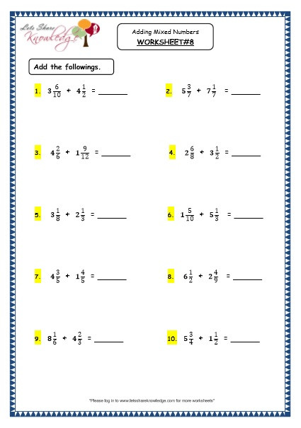 Fractions Worksheets Grade 4 Grade 4 Maths Resources 2 4 3 Adding Mixed Numbers