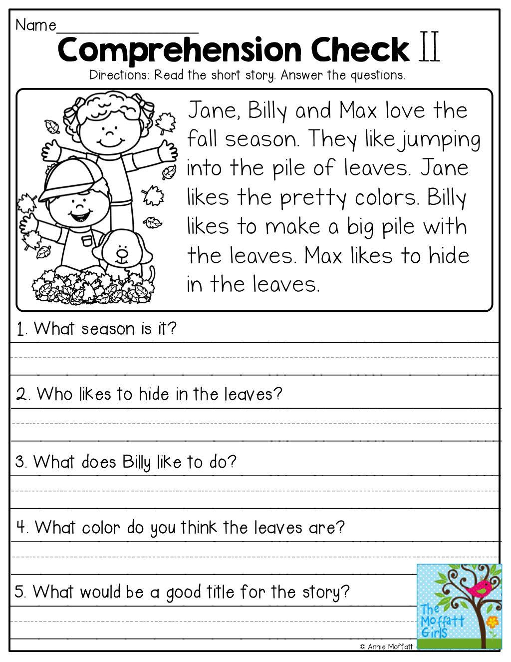 Free 1st Grade Comprehension Worksheets 1st Grade Prehension Worksheets Free