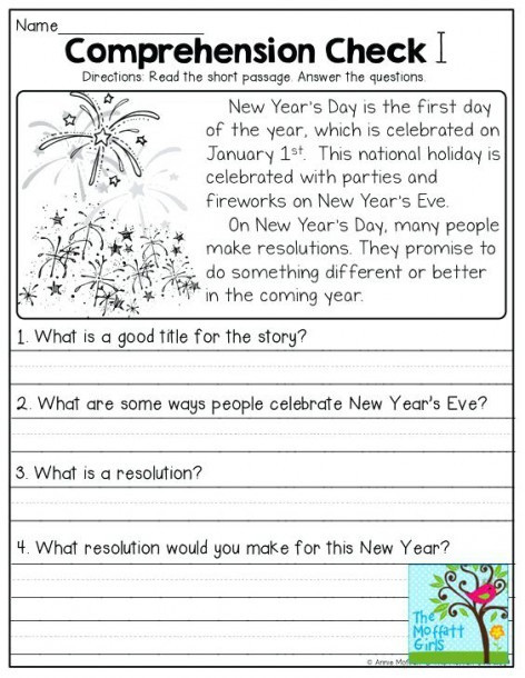 Free 1st Grade Comprehension Worksheets 1st Grade Reading Worksheets for Christmas First