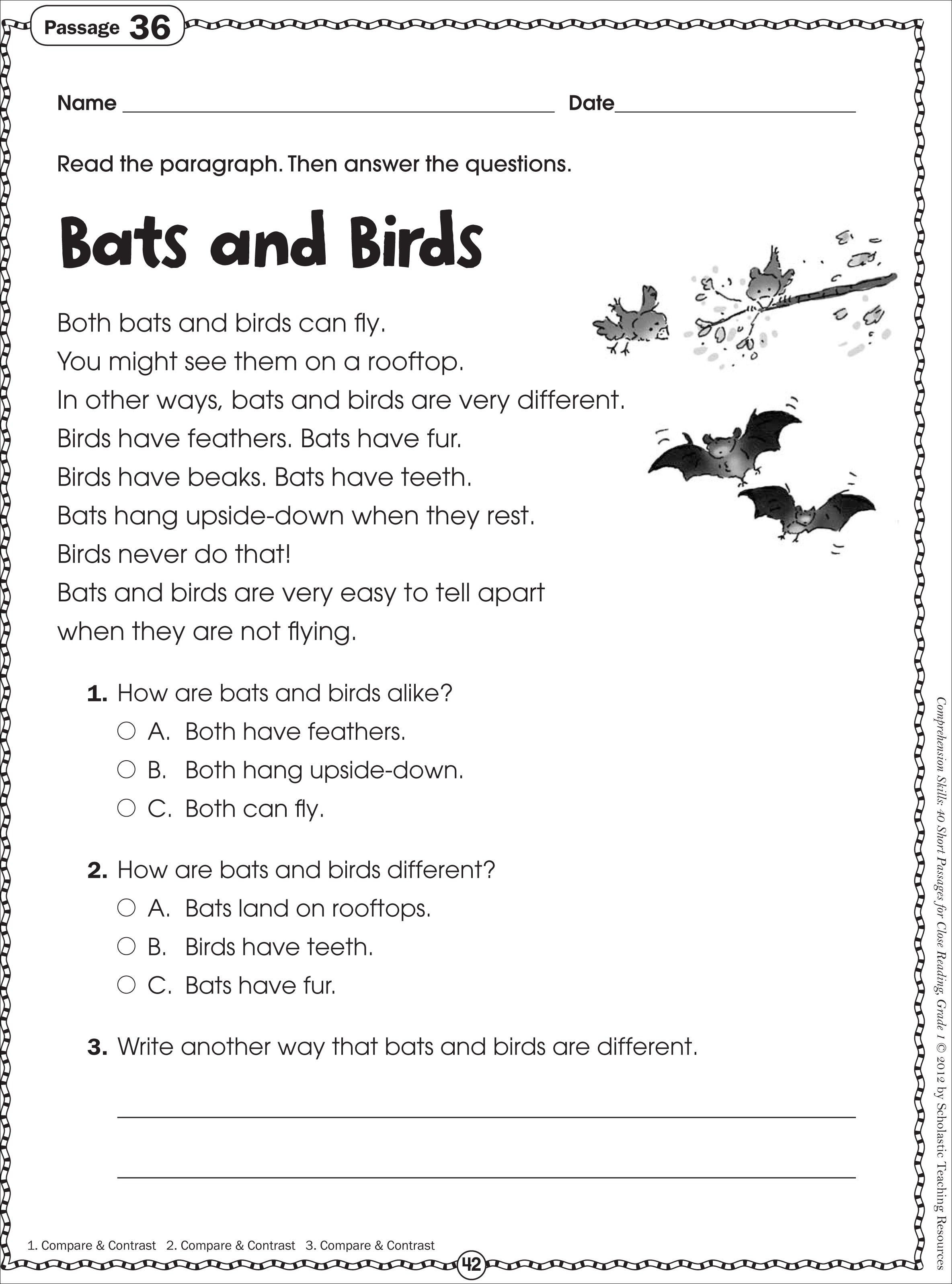 Free 1st Grade Comprehension Worksheets Free Printable Reading Prehension Worksheets for