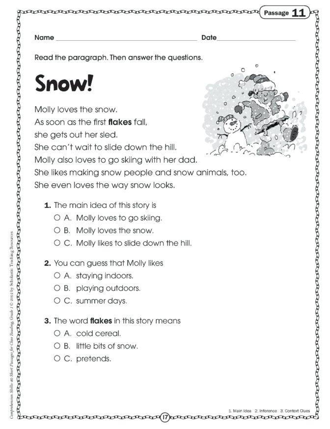 Free 1st Grade Comprehension Worksheets Math Worksheet 1st Grade Prehension Passages Free First
