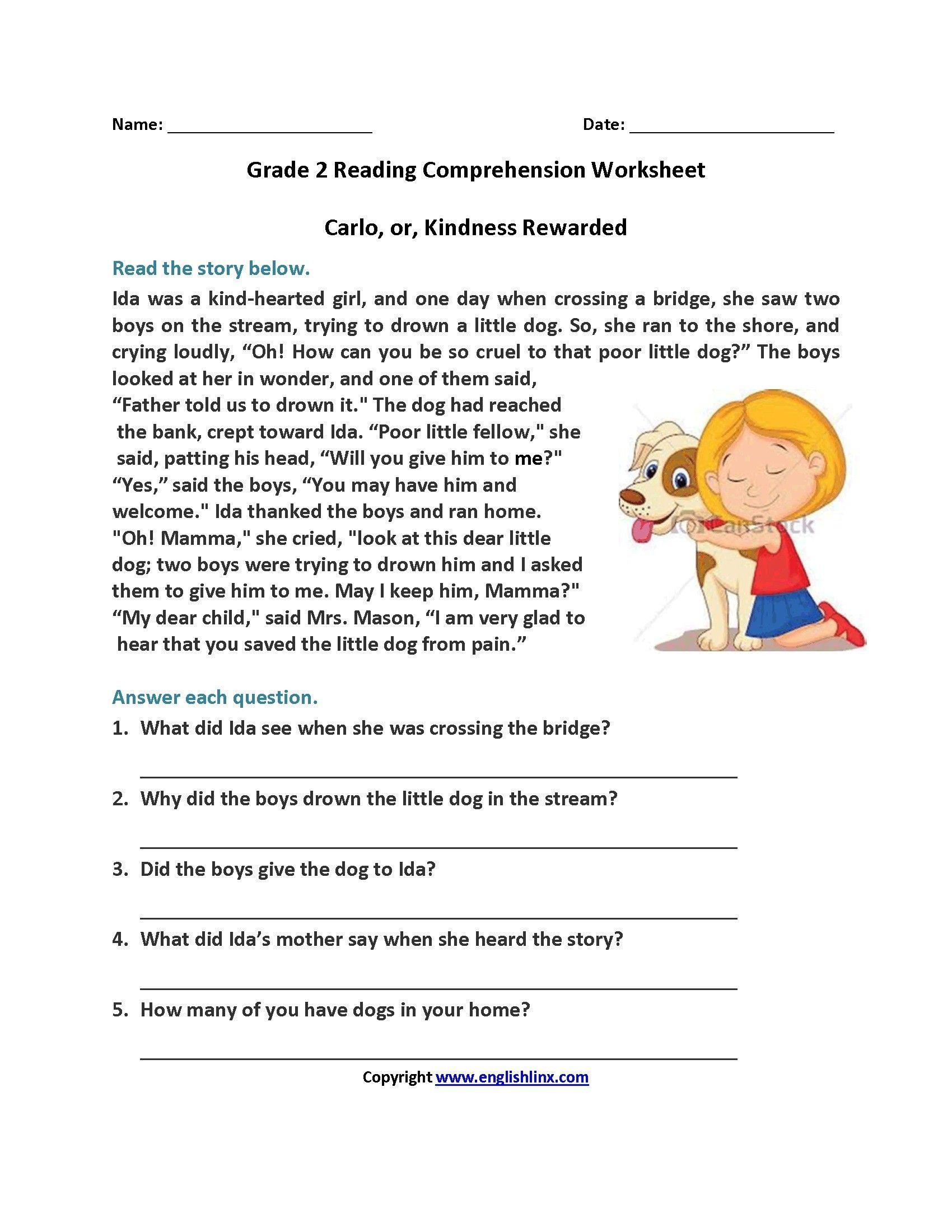 Free 2nd Grade Comprehension Worksheets 11 Qualified Reading Prehension Worksheets Free Printable