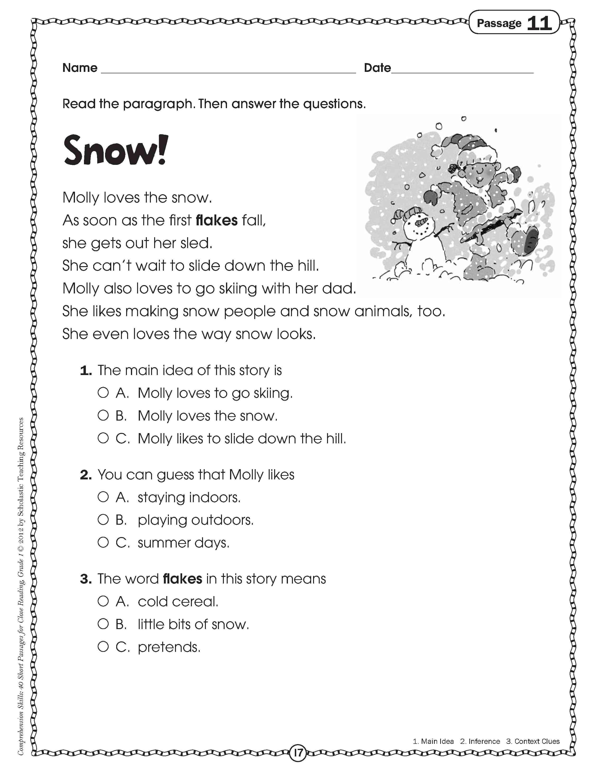 Free 2nd Grade Comprehension Worksheets Free Reading Prehension Worksheet Grade 2