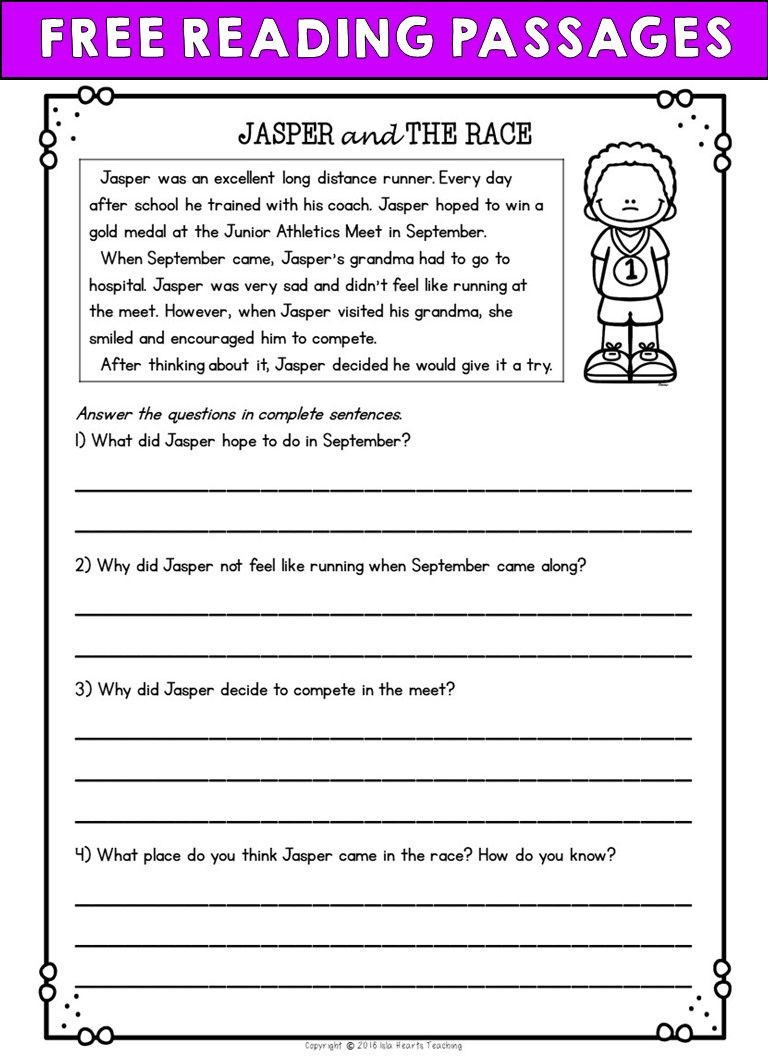 Free 2nd Grade Comprehension Worksheets Second Grade Reading Prehension Passages and Questions