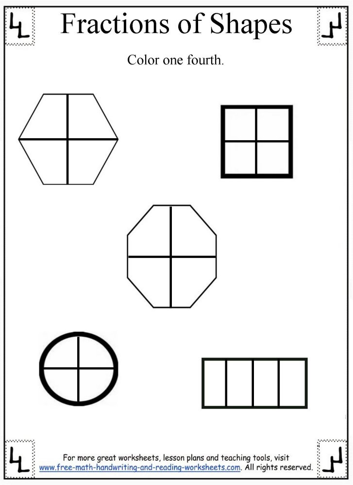 Free First Grade Fraction Worksheets Fractions Worksheet Dividing Shapes