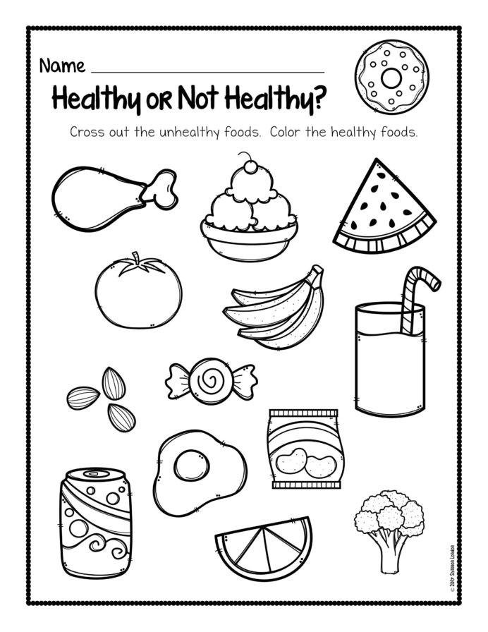 Free First Grade Fraction Worksheets Healthy Foods Worksheet Free Habits for Kids and Junk Food