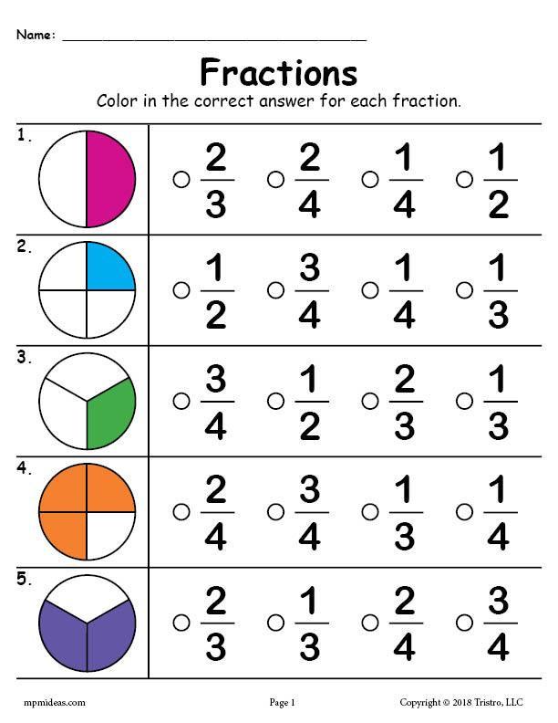 Free First Grade Fraction Worksheets Printable Fractions Worksheet