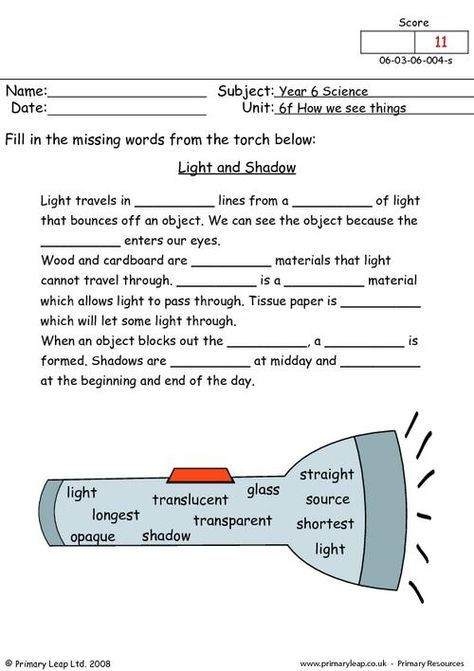 Free Fourth Grade Science Worksheets Primaryleap Light and Shadow Worksheet