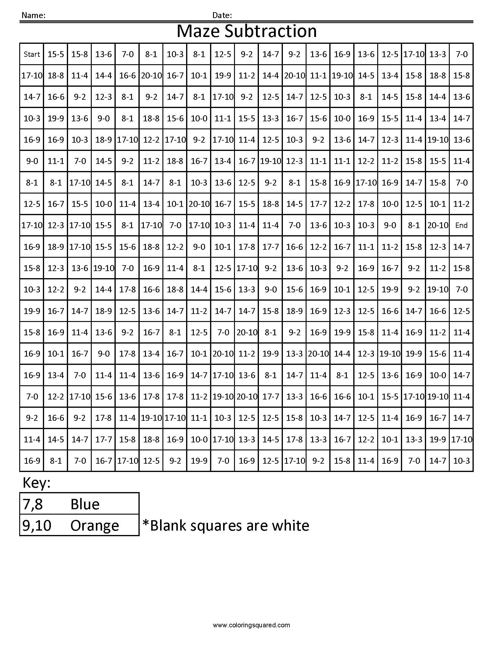 Free Grid Coloring Worksheets 3dsc10 Maze Free Math Fact Coloring Pages Coloring Squared