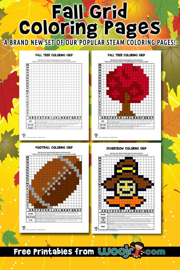 Free Grid Coloring Worksheets Fall Grid Coloring Pages Mystery Picture Activities