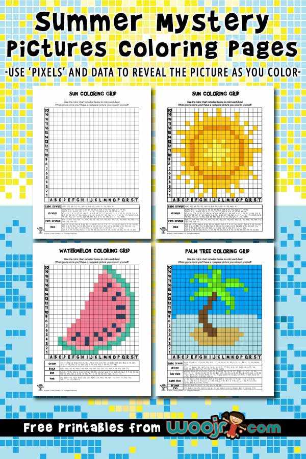 Free Grid Coloring Worksheets Summer Mystery Pixel Grid Coloring Pages