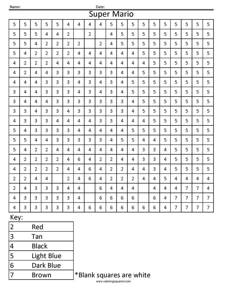 Free Grid Coloring Worksheets Super Mario Color by Number – Coloring Squared Fun Math